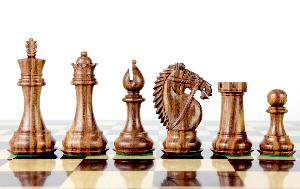 "Golden Rosewood/Boxwood Chess Set Pieces Rio Staunton 4.0"" (102 mm) - 2 Extra Queens - Triple Weighted"