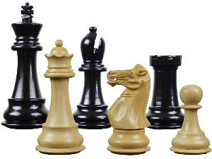 "Wooden Tournament Chess Pieces Splendid Staunton 3-3/4"" Ebonized/Boxwood"