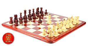"""Bud Rosewood / Boxwood Chess Set Pieces Yugo (Zagreb) Staunton 4"""" (102 mm) + 2 Extra Queens - Triple Weighted + Wooden Storage Box"""