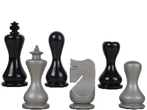 """Modern Round Artistic Wooden Chess Set Pieces 3-3-/4"""" Silver/Black Colored"""