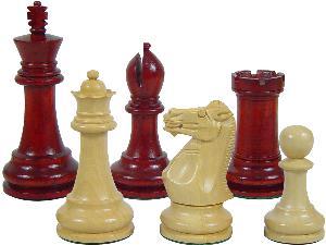 "Premier Chess Set Pieces Monarch Staunton King Size 4"" Blood Rosewood/Boxwood"