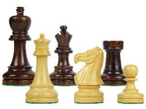 "Wood Chess Set Pieces Broad Base Staunton King Size 3-3/4"" Rosewood/Boxwood"