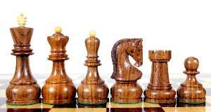"Golden Rosewood / Boxwood Chess Set Pieces Yugo (Zagreb) Staunton 4"" (102 mm) + 2 Extra Queens + Wooden Storage Box"