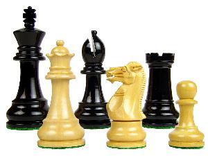 """Monarch Staunton Wooden Tournament Chess Pieces King Size 3-3/4"""" Ebonized/Boxwood"""