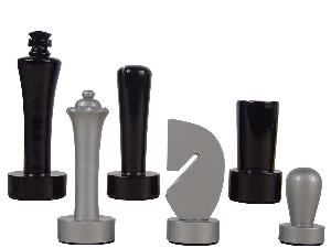 """Artistic Berliner Wood Chess Set Pieces King Size 4"""" Silver/Black Colored"""