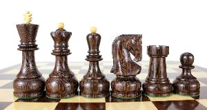 "Wenge Wood / Boxwood Chess Set Pieces Yugo (Zagreb) Staunton 4"" (102 mm) + 2 Extra Queens + Wooden Storage Box"