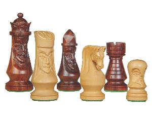 """Medieval Design Wooden Theme Chess Pieces 3-3/4"""" Rosewood/Boxwood"""