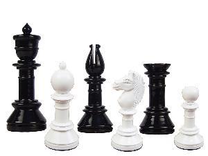 "Edinburgh Upright Antique Reproduction Chess Set Pieces 4-3/8"" Black/Ivory Colored"