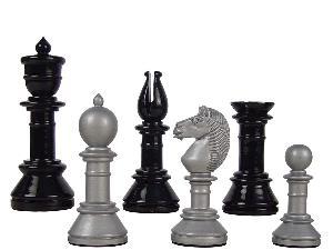 "Edinburgh Upright Antique Reproduction Chess Set Pieces 4-3/8"" Silver/Black Colored"