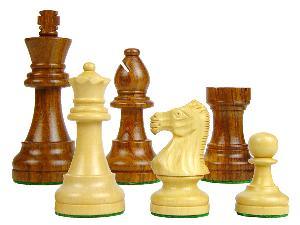 "Popular Staunton Wooden Chess Pieces King Size 3-1/4"" Golden Rosewood/Boxwood"