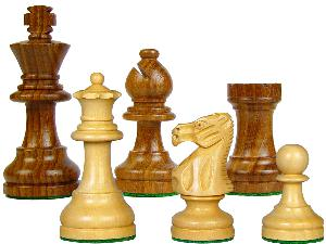 """Popular Staunton Wooden Chess Pieces King Size 3"""" Golden Rosewood/Boxwood"""