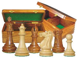 "Monarch Staunton Chess Set Pieces 4"" & Wooden Hinged Storage Box Golden Rosewood"