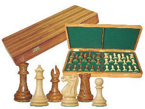 """Monarch Staunton Chess Set Pieces 4"""" & Wooden Presentation Storage Box Golden Rosewood"""