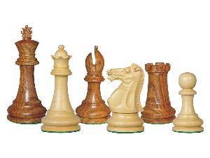 "Tournament Chess Pieces Wooden Monarch Staunton Golden Rosewood/Boxwood 4"""