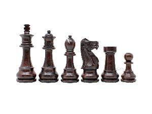 "Wooden Unique Staunton Chess Pieces King Size 3-3/4"" Ringy Rosewood/Boxwood"