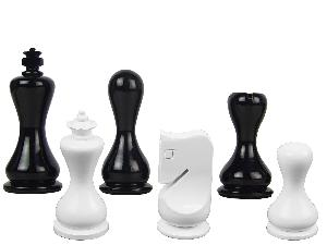 "Modern Round Artistic Wooden Chess Set Pieces 3-3-/4"" Black/Ivory Colored"