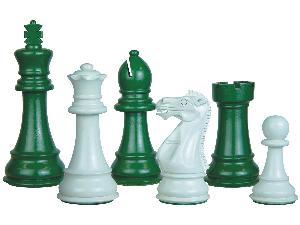 """Perfect Tournament Chess Set Pieces Imperial Staunton Green/Ivory Lacquered 4"""""""