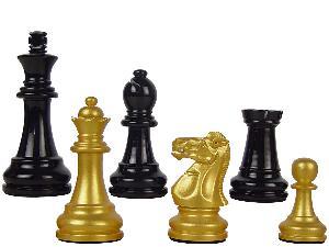 "Premier Wooden Chess Set Pieces Empire Staunton King Size 3-3/4"" Gold/Black Color"