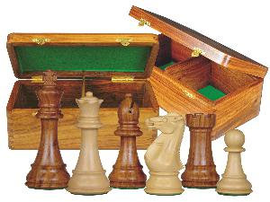 """Imperial Staunton Chess Set Pieces 4"""" & Wooden Hinged Storage Box Golden Rosewood"""