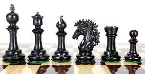 "Ebony/Boxwood Chess Set Pieces Encore Staunton 4.5"" + 2 Extra Queens + Wooden Storage Box"