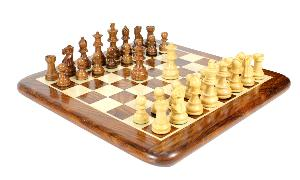 """Golden Rosewood/Boxwood Unique Staunton Wooden Chess Set Pieces King size 3"""" - Double Weighted"""