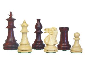 Victorian Staunton Wooden Chess Pieces Rosewood/Boxwood 3-3/4""
