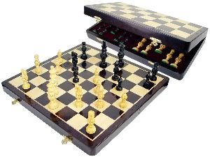 "Globe Design Artistic Ebony Chess Set Pieces 4"" & 18"" Folding Chess Board with Algebraic Notations Wenge Wood/Maple"