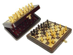 """Travel Chess Set Magnetic Folding 7-1/2"""" with 2 Extra Queens, Pawns & 4 Extra Knights Rosewood/Maple"""
