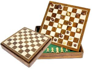 """Travel Chess Set Magnetic Flip Up Board 10"""" with Algebraic Notations Golden Rosewood/Maple"""
