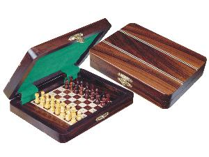 "Travel Pegged Chess Set Inlaid Wood Top Board Inside Rosewood/Maple 7""x5"""
