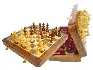 "Travel Magnetic Chess Set Folding 10"" with 2 Extra Queens, Pawns & 4 Extra Knights Golden Rosewood/Maple"
