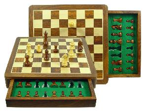 "Travel Chess Set Magnetic Push Drawer 14"" with Inserts Golden Rosewood/Maple"