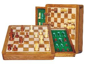"""Travel Chess Set Magnetic Push Drawer 10"""" With Inserts Golden Rosewood/Maple"""