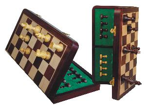 """Tournament Magnetic Chess Set Folding Chessboard 18"""" Rosewood/Maple King Size 3-1/2"""""""