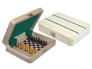 "Ebony Inlaid Wood Top Travel Pegged Chess Set 7""x5"" White Maple"