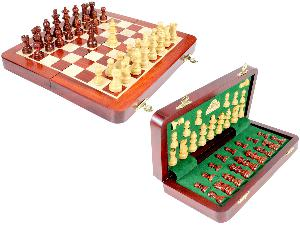 """10"""" Wooden Chess Set Travel Magnetic Folding Board Bud Rosewood + 2 Extra Queens"""