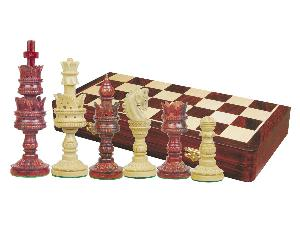 "Lotus Design Artistic Chess Set Pieces 5-1/2"" & 20"" Folding Board/Box Rosewood/Maple"