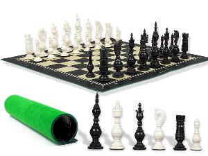 """Renaissance 101 Antique Reproduced Camel Bone 5"""" Chess Set with Woodtex Roll Up 19"""" Chess Board and Presentation Box"""