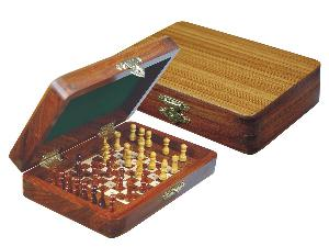 """Wood Pegged Chess Set Inlaid Board Inside & Pieces Golden Rosewood/Maple 6""""x4"""""""