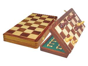 """Tournament Magnetic Chess Set Folding Chessboard 18"""" Golden Rosewood/Maple King Size 3-1/2"""""""