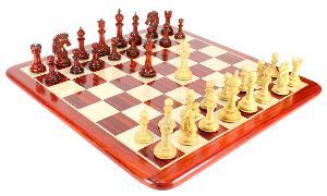 "Bud Rose Wood Encore Staunton Wooden Chess Set Pieces 4.5"" + 23"" Matching Board + Box"