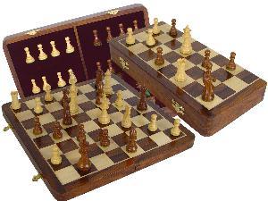 "Wood Chess Set Victorian Staunton 3-1/2"" & 16"" Folding Chess Board/Box Golden Rosewood/Maple"