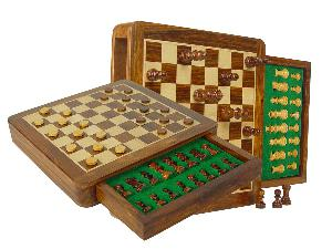 """Travel Magnetic Chess Set & Checkers in 10""""x10"""" Flat Drawer Golden Rosewood/Maple"""