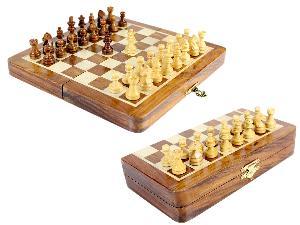 """8"""" Wooden Chess Set Travel Magnetic Folding Board Golden Rosewood + 2 Extra Queens"""