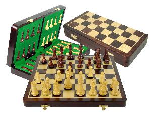 """Tournament Chess Set Board & Pieces Imperial Staunton King Size 4"""" with 18"""" Folding Board/Box Rosewood/Maple"""