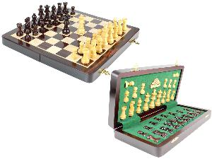 "12"" Wooden Chess Set Travel Magnetic Folding Board Rosewood + 2 Extra Queens"