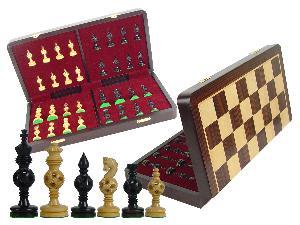 "Artistic Chess Set Magic Balls Ebony Pieces 4"" & 18"" Folding Board/Box Rosewood/Maple"