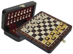 """Metal Wood Chess Set Magnetic Folding 9"""" with Inlaid Algebraic Notations Rosewood/Maple"""