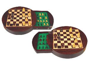 "Travel Magnetic Chess Set 9"" Round Shape with Drawer Rosewood/Maple"