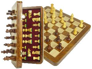 """Travel Chess Set Magnetic Folding 12"""" with 2 Extra Queens, Pawns & 4 Extra Knights Golden Rosewood/Maple"""